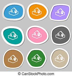 Upload icon symbols. Multicolored paper stickers.