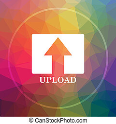 Upload icon. Upload website button on low poly background.