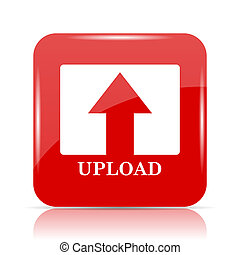 Upload icon. Upload website button on white background.