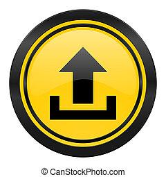 upload icon, yellow logo,