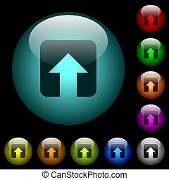 Upload icons in color illuminated glass buttons