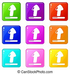Upload icons set 9 color collection
