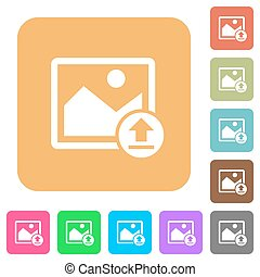 Upload image rounded square flat icons