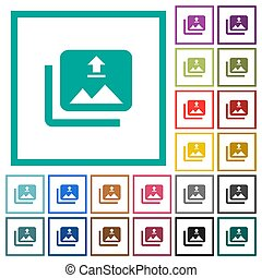 Upload multiple images flat color icons with quadrant frames...