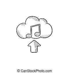 Upload music sketch icon.