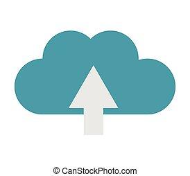upload, nuvola, icona