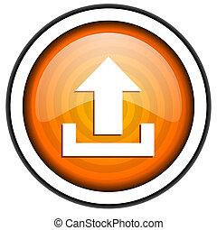 upload orange glossy icon isolated on white background