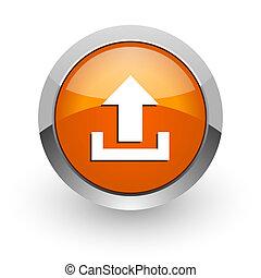 upload orange glossy web icon