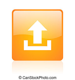 upload orange square glossy web icon