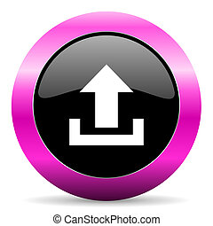 upload pink glossy icon