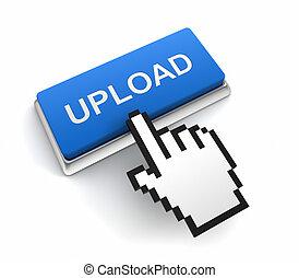 upload push button concept  3d illustration