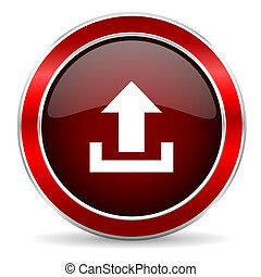 upload red circle glossy web icon, round button with metallic border
