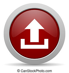 upload red glossy web icon