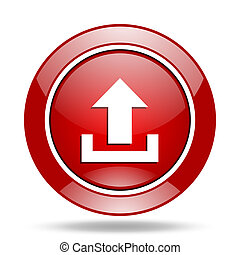 upload red web glossy round icon