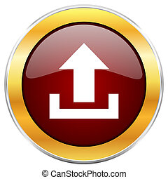 Upload red web icon with golden border isolated on white background. Round glossy button.