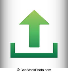 Upload sign. Green gradient icon