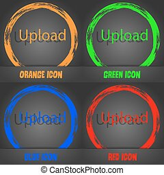 Upload sign icon. Load symbol. Fashionable modern style. In the orange, green, blue, red design. Vector