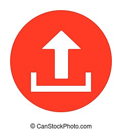 Upload sign illustration. White icon on red circle.