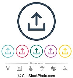 Upload symbol flat color icons in round outlines