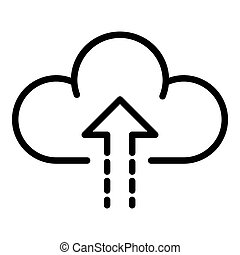 Upload to the cloud icon, outline style