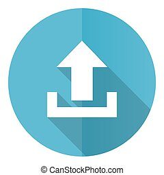 Upload vector icon, flat design blue round web button isolated on white background