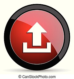 Upload vector icon. Modern design red and black glossy web and mobile applications button in eps 10