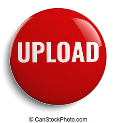 Upload Word Red Round Icon