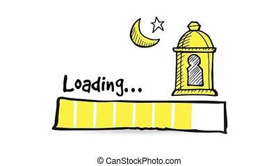 Uploading, downloading, loading status bar. Loopable HD graphic animation with hand drawn doodle arab lantern, moon and glittering star. Muslim holiday Ramadan Kareem concept.