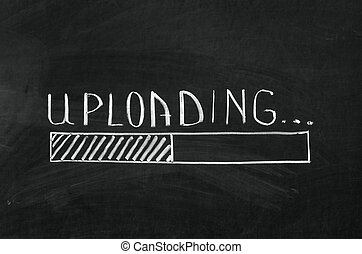 Uploading handwritten with white chalk on a blackboard and drawing download bar