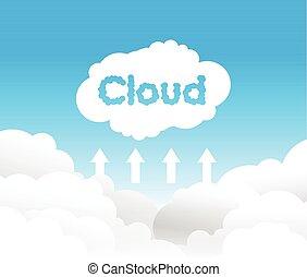uploading, nuvola, fondo