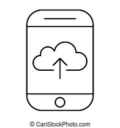 Uploading to cloud storage using smartphone. Mobile internet. Phone vector pictogram