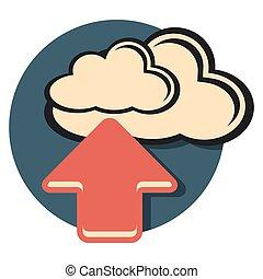 uploud flat icon in circle