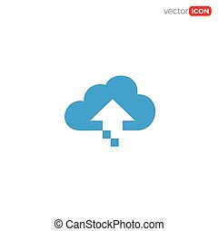 uploud to cloud icon/symbol/Logo Design. Vector Template Illustration