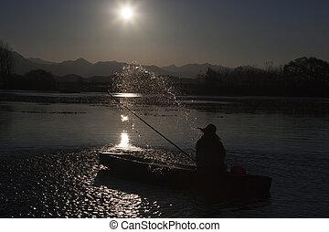 upo, fischer, süden, sumpf, korea, landschaftsbild, schöne...