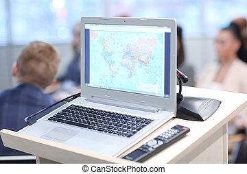 up.open, przestrzeń, fotografia, laptop, screen., czysty, zamknięcie, kopia
