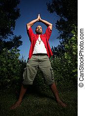 upotřebení, afričan američanka, venku, yoga voják
