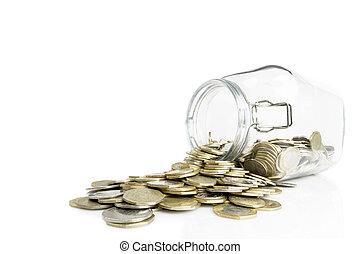 upp-och-ned, glasburk, med, gyllene, och, silver, mynter,...