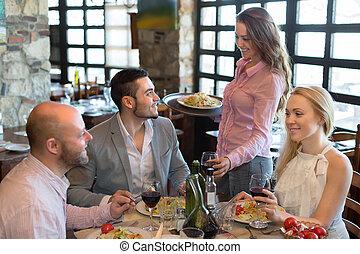 uppassare, bord, gäster, restaurang