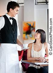 uppassare, kaffe, tjänande