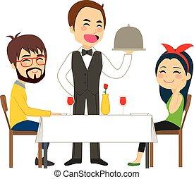 uppassare, tjänande, restaurang