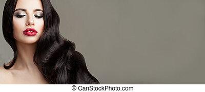 uppe, ansikte, perfekt, länge, lockig, nära, brunett, mörk, kvinna, hår, vacker