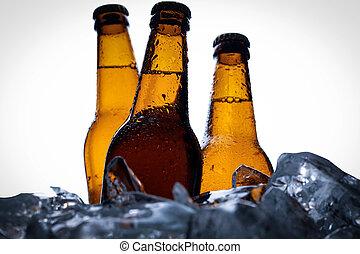 uppe., flaskor, foto, ice., vinjett, få, öl, bakgrund, nära,...