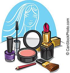 uppe, göra, kosmetisk, utrustning