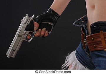 uppe, hand gevär, sexig, nära, flicka