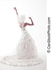 uppe., klänning, upprest, över, bröllop, baksida, brud, räcker, synhåll, vit