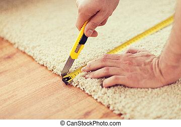 Uppe, klippande, räcker, nära, manlig, matta
