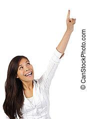 uppe, kvinna pekande
