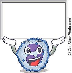 uppe, maskot, upprest, bord, bild, basophil, cell