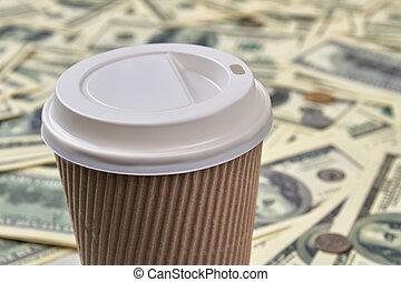 uppe., nära, kopp, disponibelt, kaffe