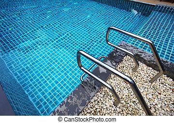 uppe, simning, trappsteg, nära, slå samman, hotell
